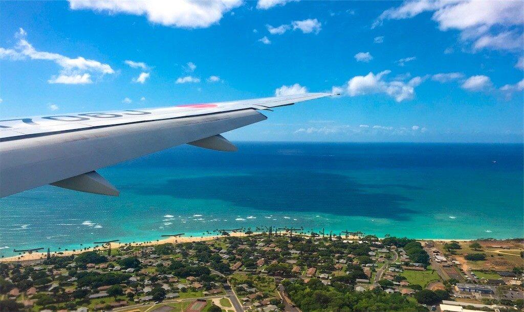飛行機から見たハワイ