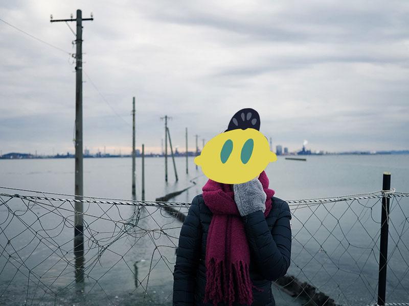 房総、江川海岸の海中電柱