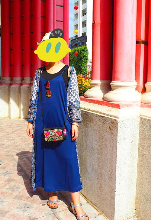 アオザイの下に着た青いワンピース